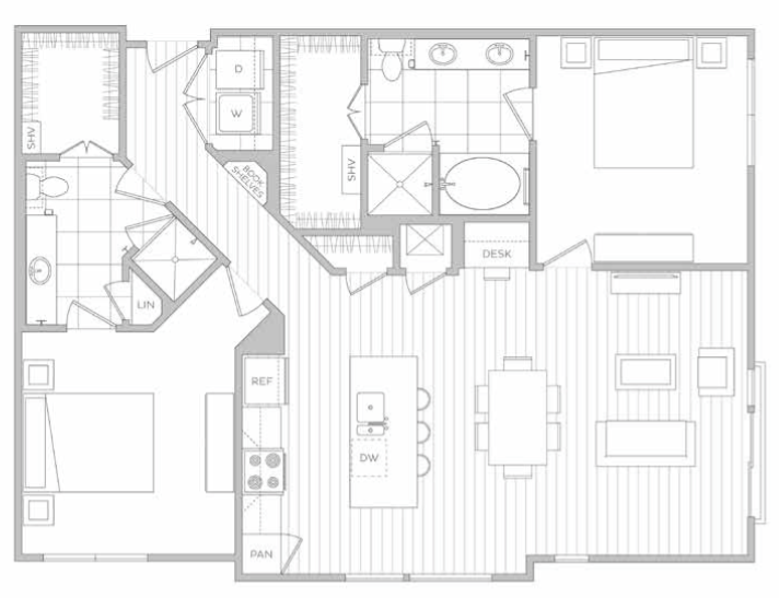 1,295 sq. ft. L floor plan