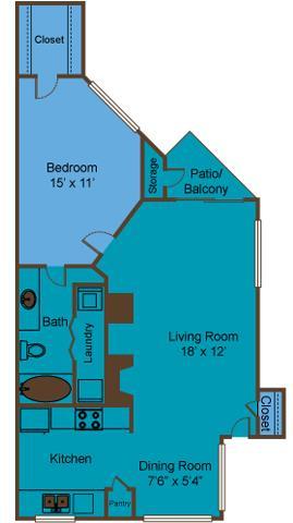 706 sq. ft. A3 floor plan