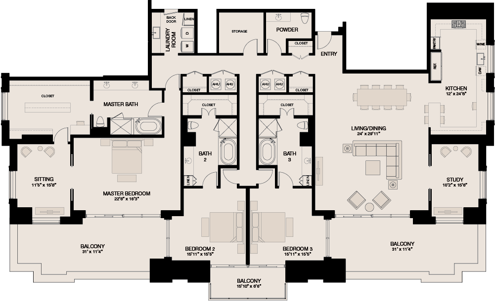 4,159 sq. ft. Penthouse floor plan