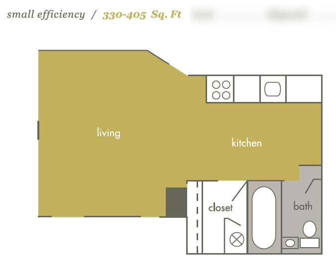 330 sq. ft. 60% floor plan