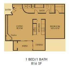 816 sq. ft. 1B floor plan