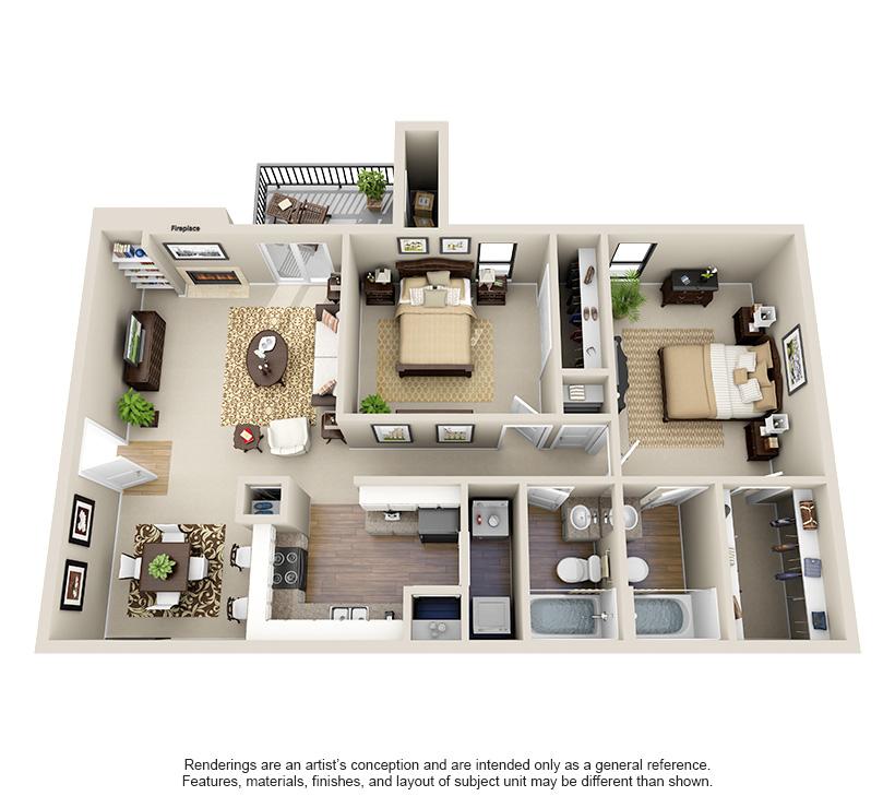 965 sq. ft. B1 floor plan
