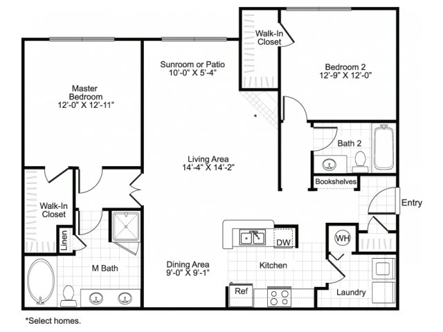 1,246 sq. ft. B3 floor plan