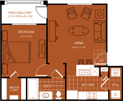 608 sq. ft. Hazeltime floor plan
