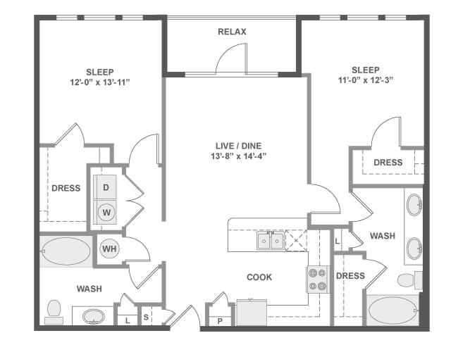 1,083 sq. ft. to 1,177 sq. ft. C5 floor plan