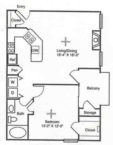 716 sq. ft. Roman Villa floor plan