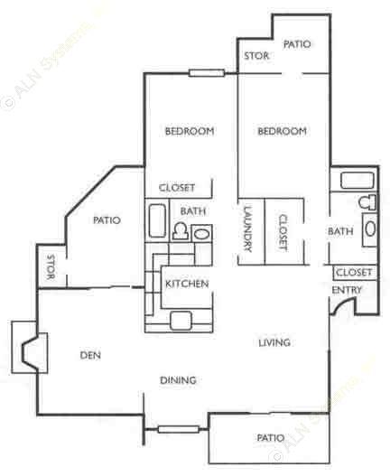 1,386 sq. ft. C1G floor plan