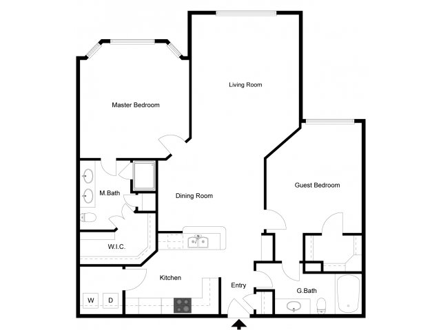 1,247 sq. ft. B2 floor plan