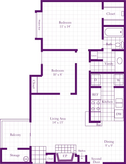 930 sq. ft. Sorrel floor plan