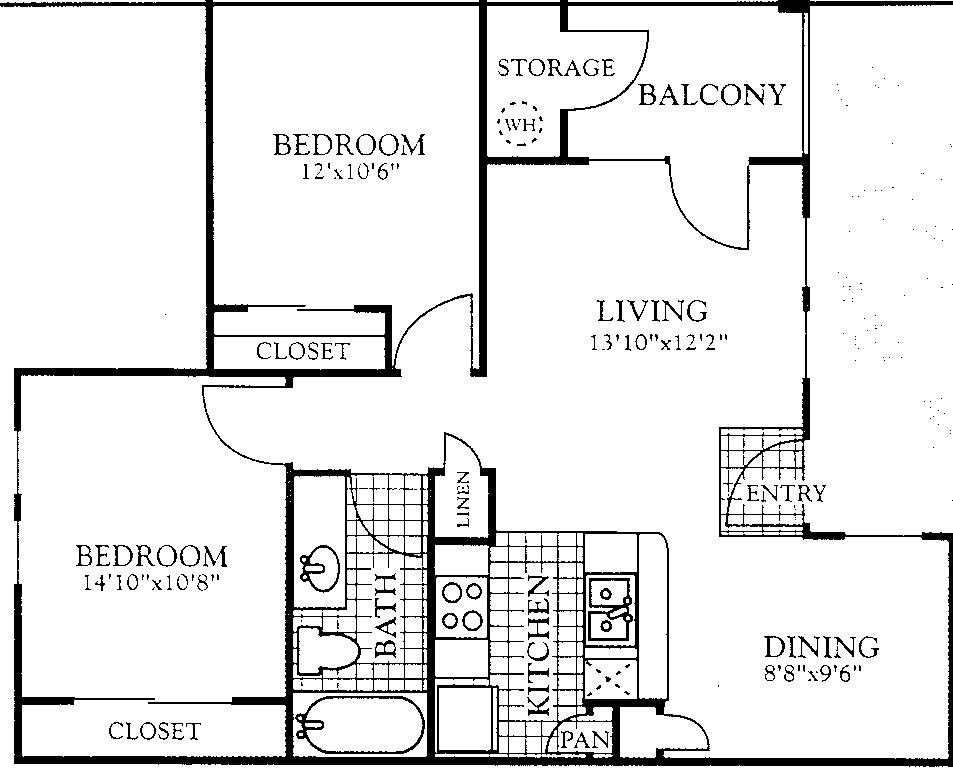 807 sq. ft. B1 floor plan
