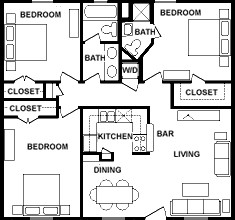 990 sq. ft. floor plan
