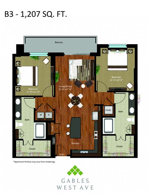 1,207 sq. ft. DB3 floor plan