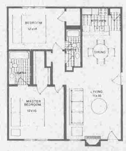 960 sq. ft. B4 floor plan