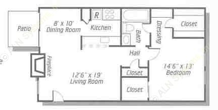 753 sq. ft. A3 floor plan