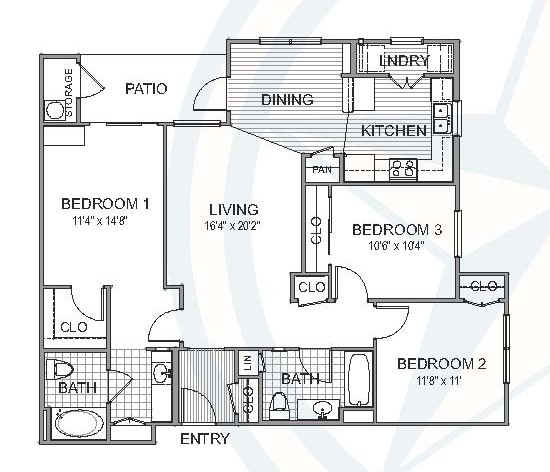 1,204 sq. ft. Redwood floor plan