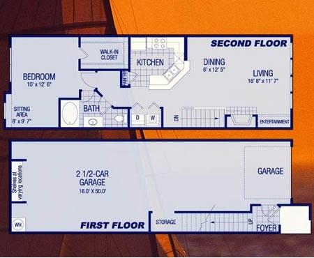 963 sq. ft. A1 Mariner floor plan
