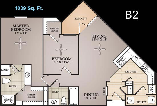 1,039 sq. ft. Renoir floor plan