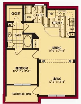 767 sq. ft. SENZANO ALT floor plan