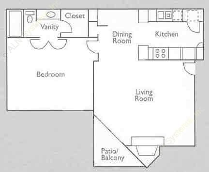 727 sq. ft. 1E floor plan