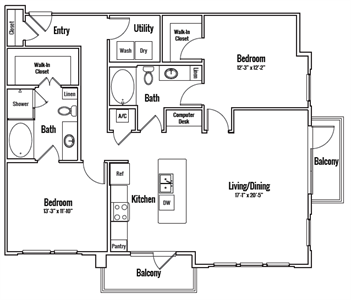 1,317 sq. ft. Sheldon Alt 1 floor plan