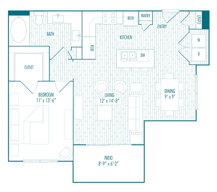 790 sq. ft. B3 floor plan