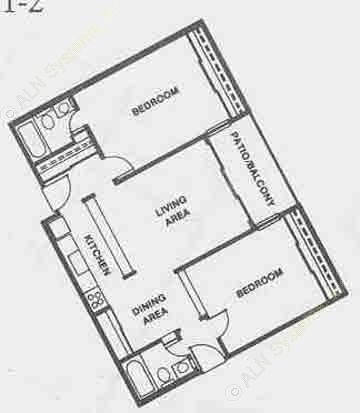 901 sq. ft. B1/B1-F floor plan
