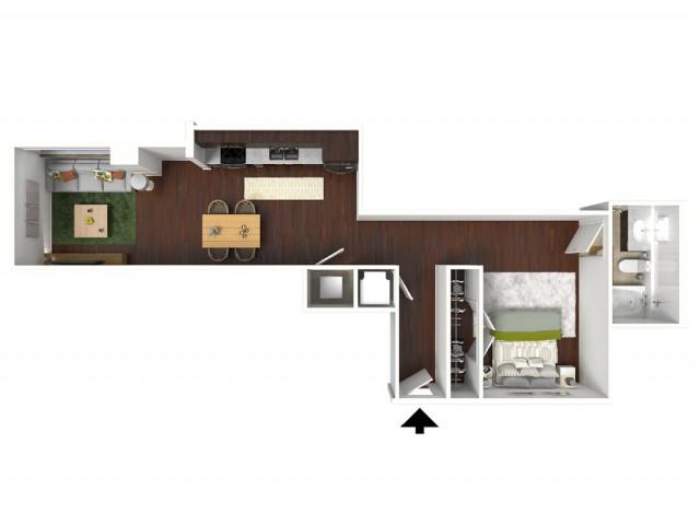 617 sq. ft. Jade floor plan