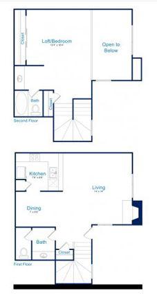 910 sq. ft. A2 floor plan