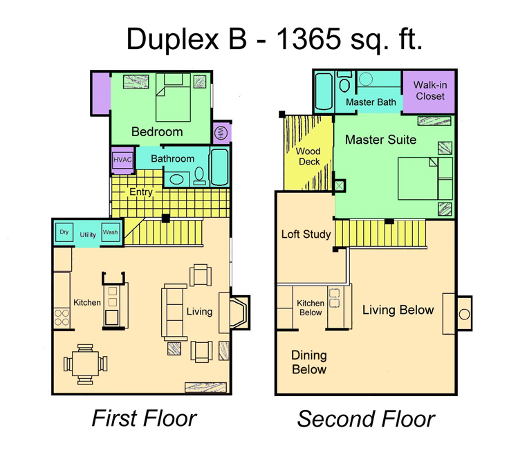 1,365 sq. ft. Duplex B floor plan