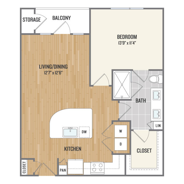 751 sq. ft. A4 floor plan