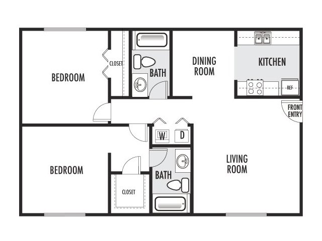 1,000 sq. ft. G-G2 floor plan