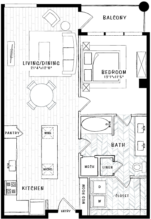 906 sq. ft. A6B floor plan