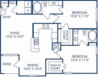 1,116 sq. ft. D floor plan