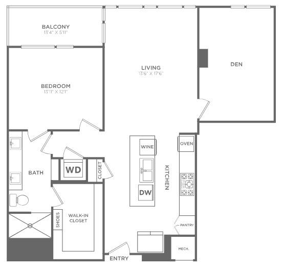 1,189 sq. ft. TA6 floor plan