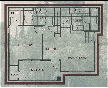 688 sq. ft. Aspen floor plan