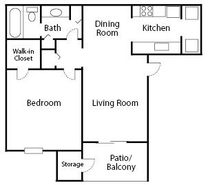 626 sq. ft. Oak floor plan