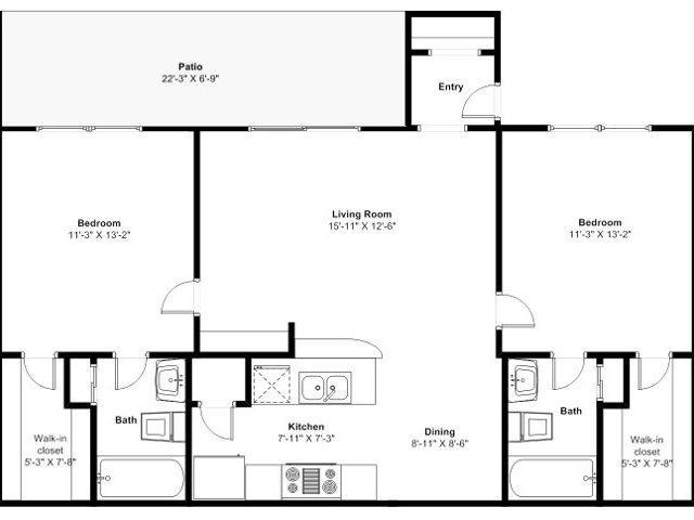 903 sq. ft. D floor plan