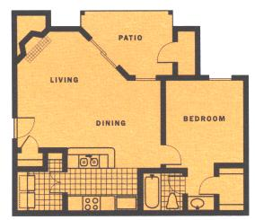 642 sq. ft. A2 floor plan
