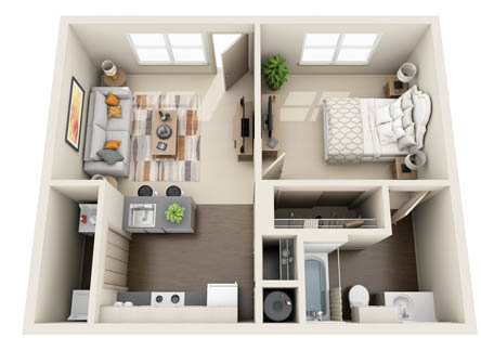 544 sq. ft. 1x1A floor plan