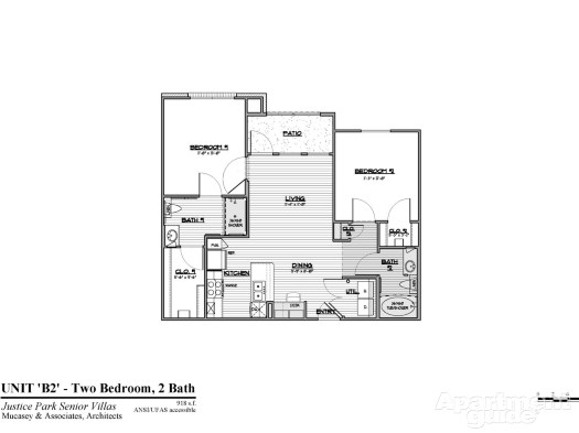 918 sq. ft. B2 HC 50% floor plan