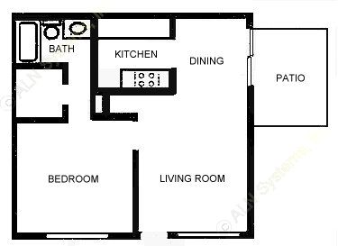 600 sq. ft. A3 floor plan