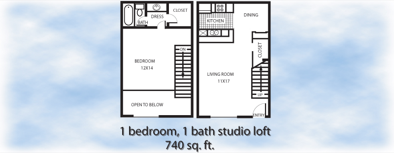 740 sq. ft. 1-1S floor plan