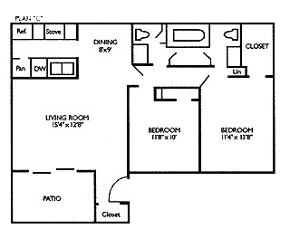 928 sq. ft. B2L floor plan