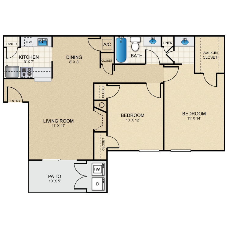 896 sq. ft. B1 floor plan