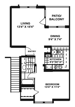 731 sq. ft. J1 floor plan