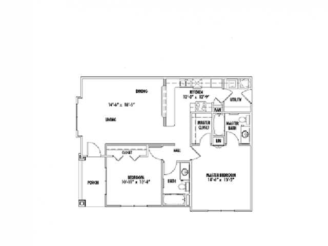 1,040 sq. ft. B4 floor plan