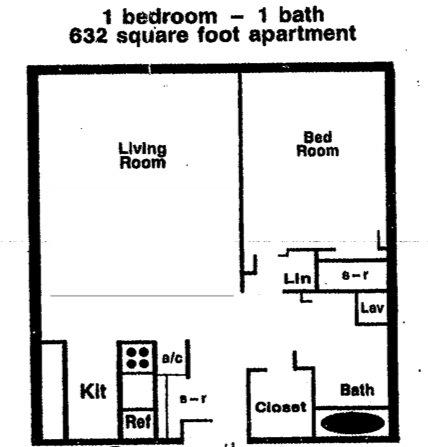 632 sq. ft. floor plan