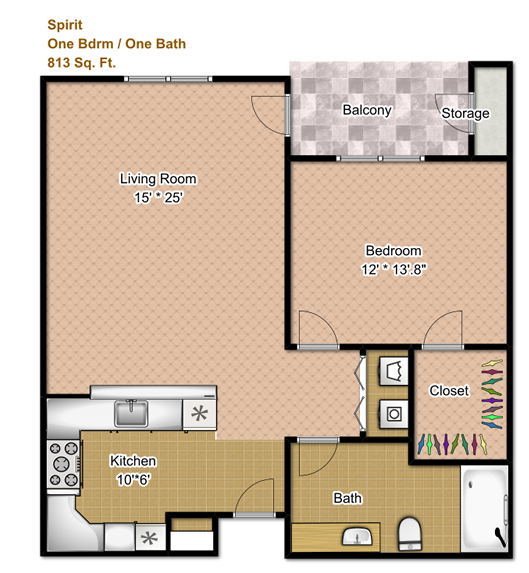 820 sq. ft. 60% floor plan