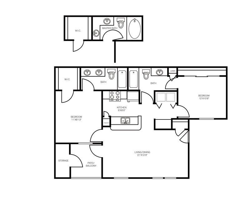 982 sq. ft. Cedar Brook floor plan