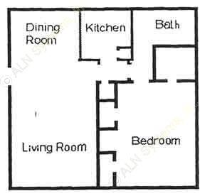 682 sq. ft. A2 floor plan